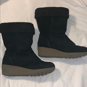 Lands end boots 9D wide wedge heel